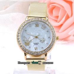 Женские золотые часы с бабочками