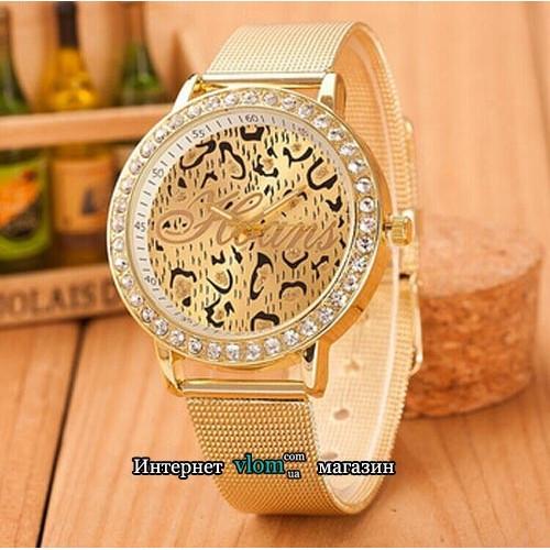 Женские золотые часы Hoans стразы