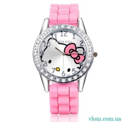 Для ребенка кварцевые часы Hello Kitty с бантиком для девочки