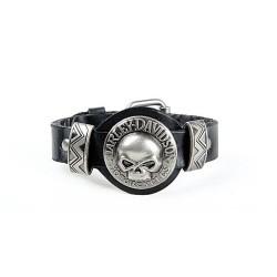Мужской браслет череп Harley Davidson