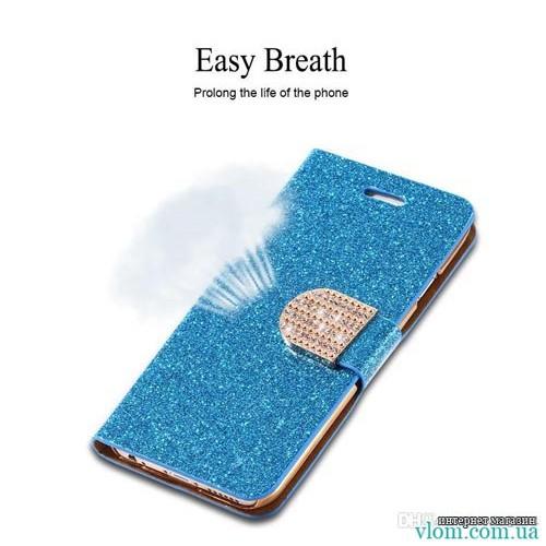 Чехол книжка синий со стразами на на Iphone 6/6s