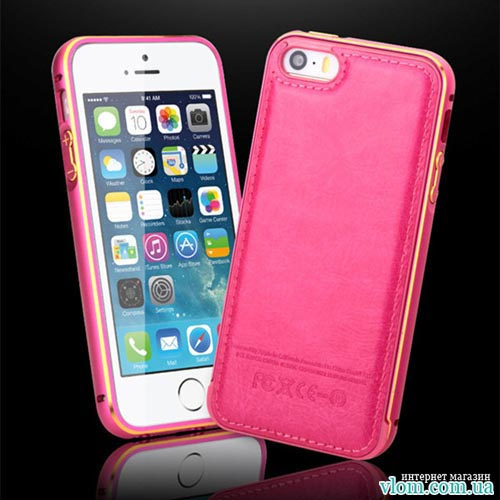 Чехол розовый бампер с кожей на для  Iphone 5/5s