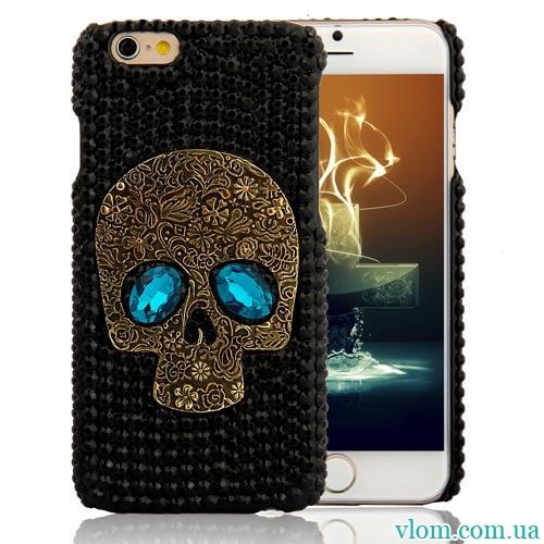 Чехол череп со стразами на на Iphone 6/6s