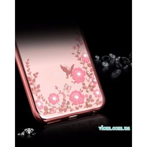 Чехол с розовыми стразами на Iphone 7/8 PLUS