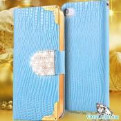 Чехол книжка стразы голубой на Iphone 6/6s plus