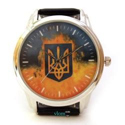 Патриотические часы Украина с трезубцем и флагом