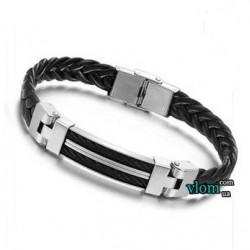 Мужской черно-металлический браслет