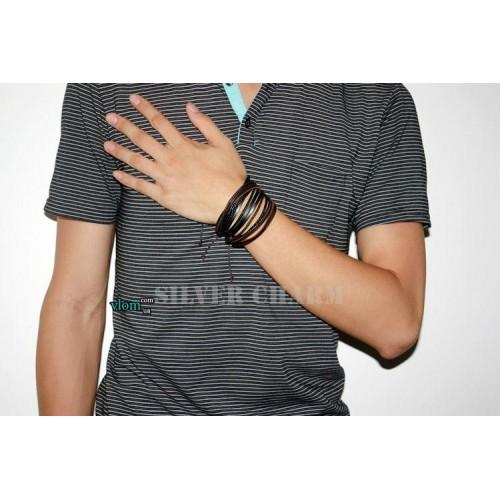 Мужской браслет кожаный плетеный